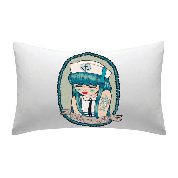 """Melbourne illustrator and designer Carla McRae created the Sailor Sally graphic design for a quirky pillowcase available through Nowhere Creek. There are other prints to choose from too—hipster beards and tattooed men to fancy foxes.<strong>RRP $35. <a href=""""http://www.nowherecreek.com.au"""" target=""""_blank"""">nowherecreek.com.au</a></strong>(©Nowhere Creek)"""