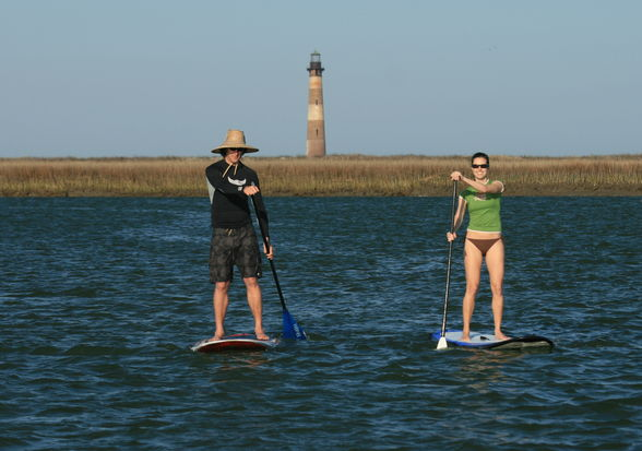 Morris Island Lighthouse by stand up paddleboard, or SUP.