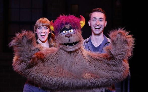 "Actors and Trekkie Cookie Monster puppet in ""Avenue Q"""