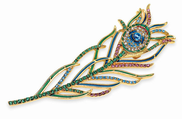 Peacock feather brooch in the gift store