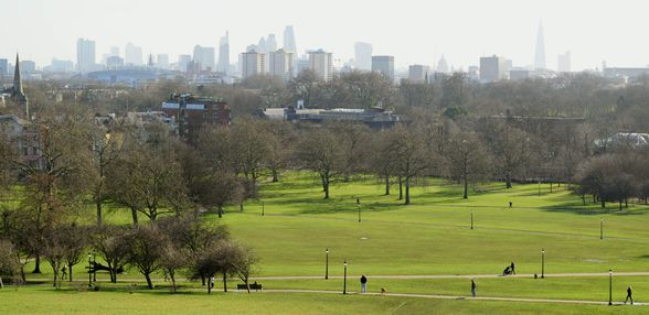 View of London from the top of Primrose Hill, UK