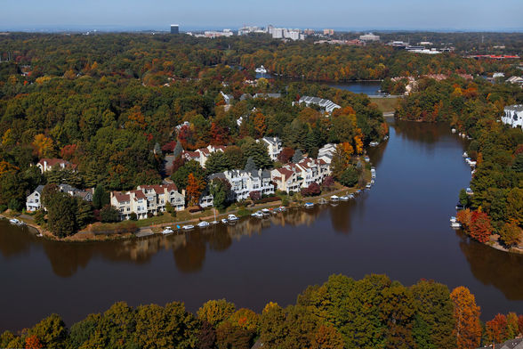 Aerial view of lakeside neighborhoods