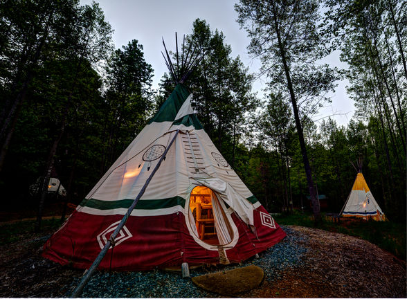 Teepee campground at North Georgia Canopy Tours