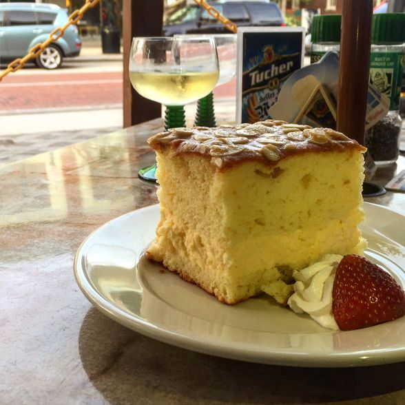 Bienenstich Cake and a Glass of Riesling at Willow Tree Cafe in Sanford, Florida