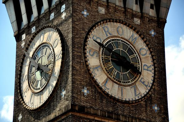 clock face on the Bromo Seltzer Arts Tower
