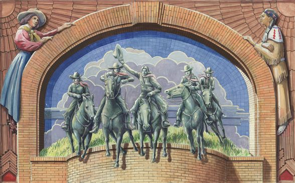 A mural at the Cowgirl Hall of Fame