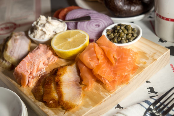 Smoked fish and capers platter at E.A.T. Cafe