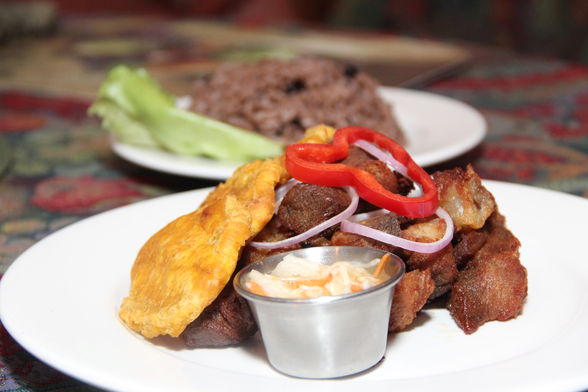 Griot dish from Leela's Restaurant, Miami.