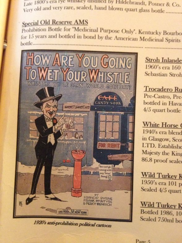 Corona Cigar Co. includes old, political cartoons on its vintage cocktail menu.