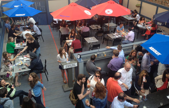 The rooftop bar at The Rattlesnake is a Back Bay institution
