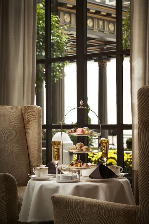 A posh tea by the window at St. Regis