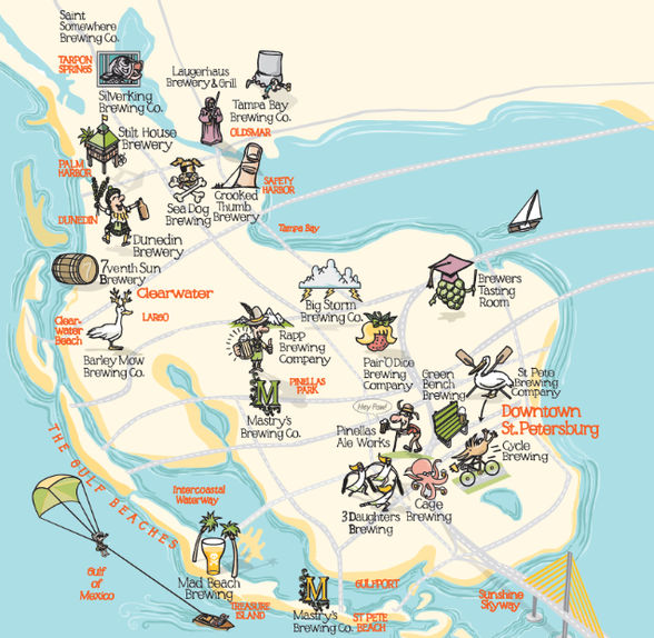 Tampa Bay craft beer trail map