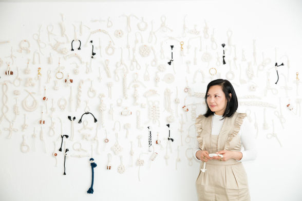 "Minnesota Street Project artist Windy Chien at her show ""The Year Of Knots"""