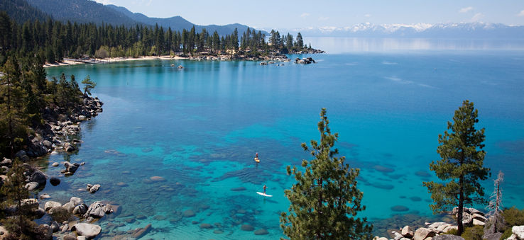 The crystal clear water of Lake Tahoe.