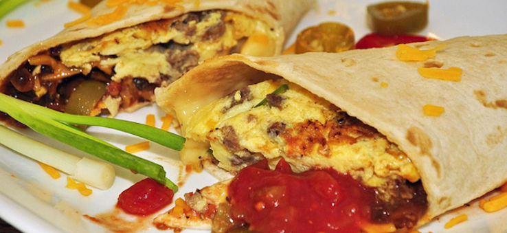 Breakfast tacos in Texas are traditionally filled with egg, cheese meat and salsa.