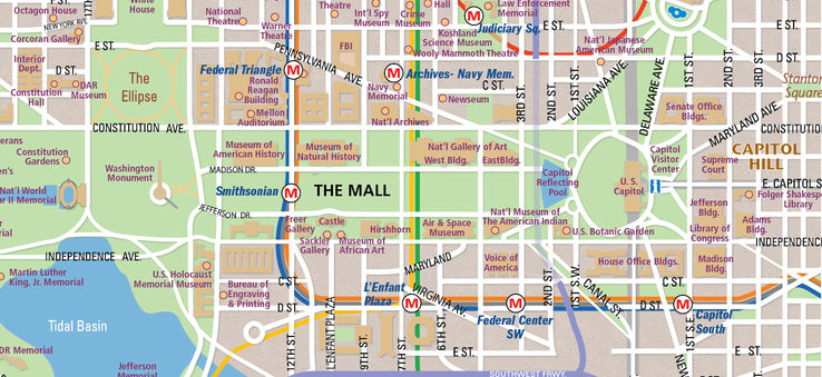 photograph relating to Printable Map of Washington Dc Mall identified as Countrywide Shopping mall Map within Washington, D.C. WhereTraveler