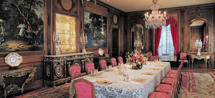 The opulent dining room inside Hillwood Estate