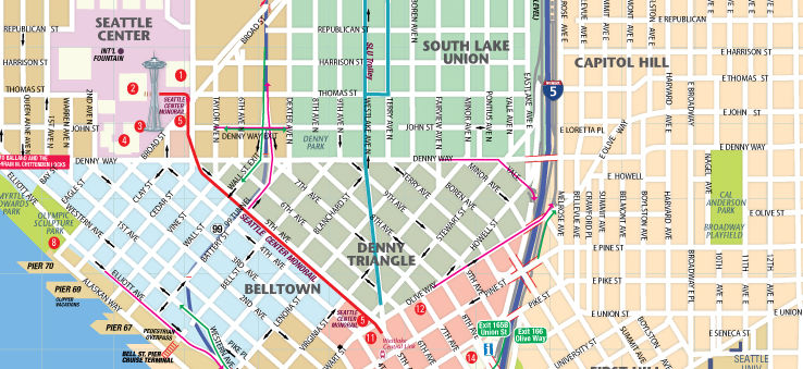 photo relating to Printable Walking Map of New Orleans identified as Map of Downtown Seattle: Interactive and Printable Maps