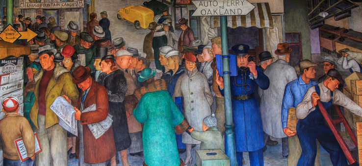 The newly restored Coit Tower murals