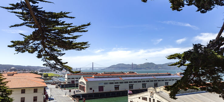 Fort Mason Center for Arts and Culture on the San Francisco waterfront buzzes with activity.