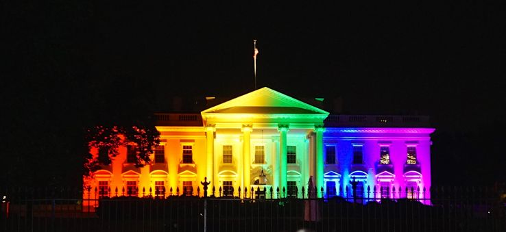 The White House, lit up in rainbow colors