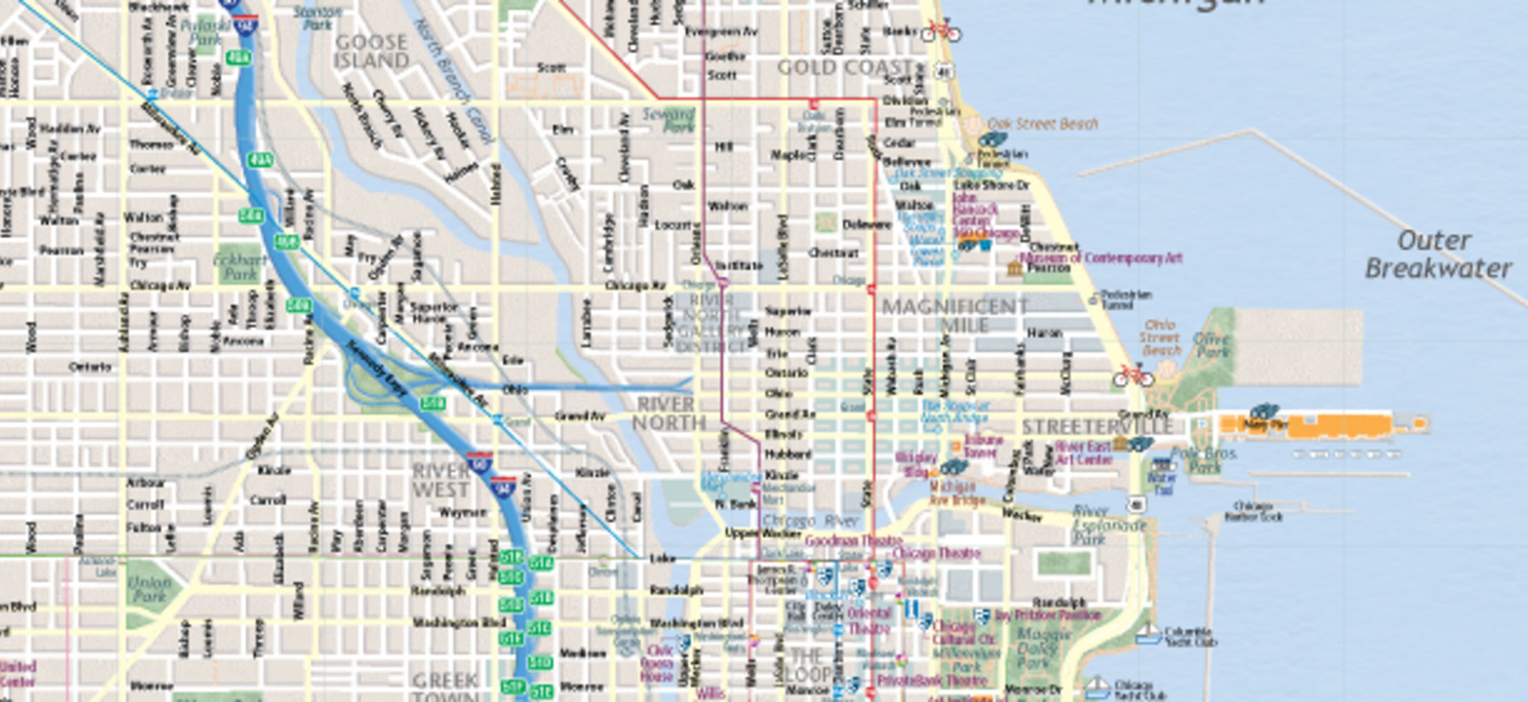 Nifty image within printable street map of downtown chicago