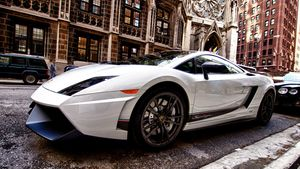 A Lamborghini parked in Chicago's luxurious Gold Coast district