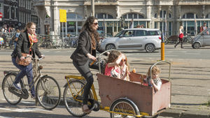 Kids on bikes, Amsterdam, Netherlands