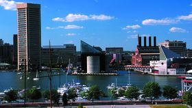 View of the Inner Harbor with water and boats (Courtesy Visit Baltimore)