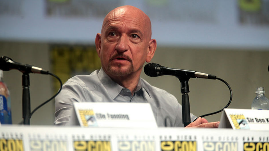 """Ben Kingsley speaking at the 2014 San Diego Comic Con International, for """"The Boxtrolls"""", at the San Diego Convention Center in San Diego, California."""