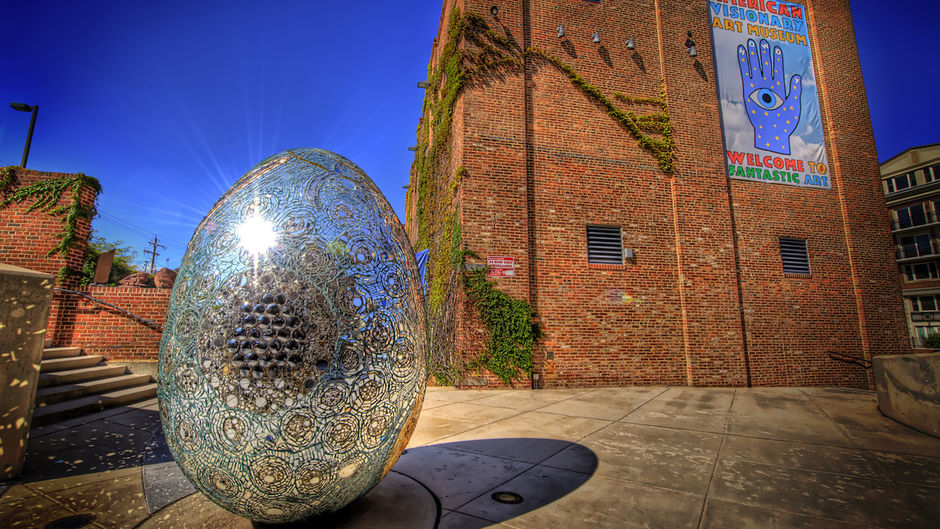 Andrew Logan's Cosmic Galaxy Egg in front of the American Visionary Art Museum