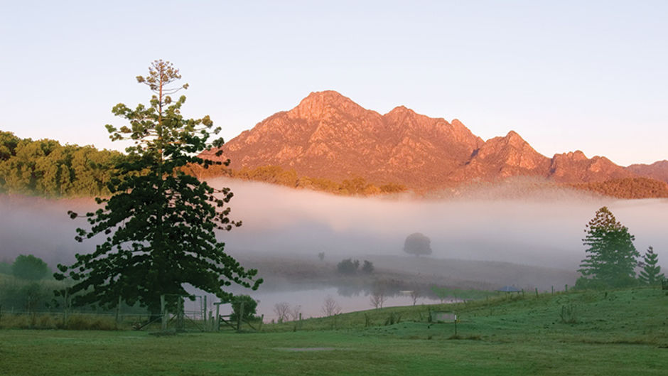 Early morning from Lilydale Farm Stay looking towards Mount Barney