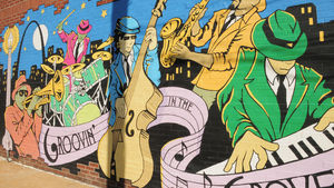 Groovin' in The Grove mural on Manchester Ave.
