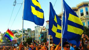 Human Rights Campaign flags on Castro Street.