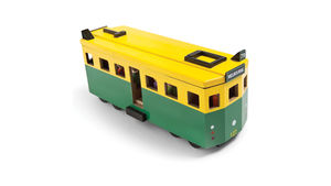 Wooden toy tram, replica of Melbourne W Class
