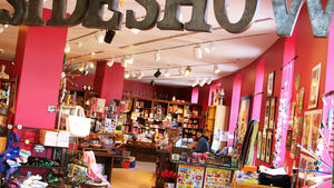 Inside the hot pink Sideshow gift shop
