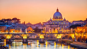An evening view of St. Peter's Cathedral in Rome